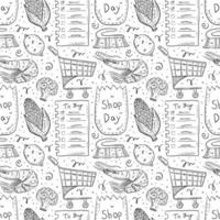 Shopping hand drawn doodle outline seamless pattern vector