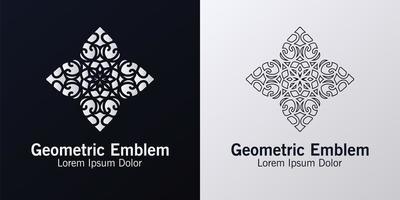 conjunto emblema geométrico blanco y negro