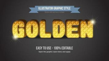 Estilo de texto redondeado de dibujos animados de patrón punteado dorado vector