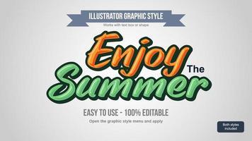 Estilos de texto de verano de dibujos animados juguetones naranja y verde vector