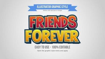 efectos de texto de dibujos animados modernos 3d rojo y amarillo vector