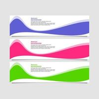 Abstract bright wave shape banner in three colorways