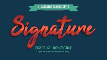 Red Metallic Cursive Handwritten 3D Bold Typography vector