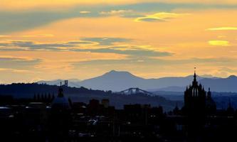 Edinburgh skyline at sunset photo
