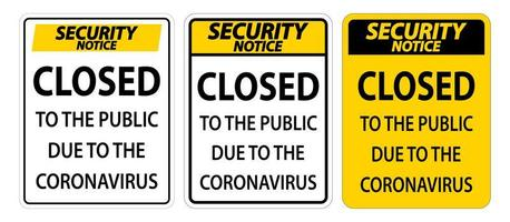 Closed to public sign due to Coronavirus sign set vector