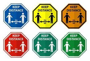 mantener el conjunto de signos de hexágono de distanciamiento social vector