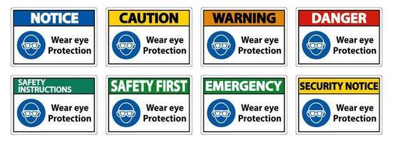 usar conjunto de letrero colorido de protección para los ojos vector
