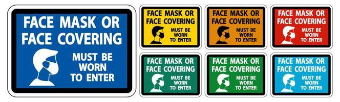 Face Mask Covering Must Be Worn Sign Set