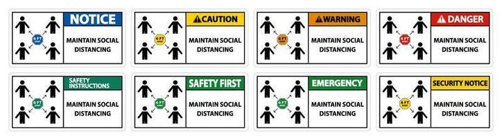 mantenere il set di segni rettangolari a distanza sociale vettore