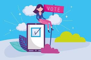 Woman voting with smart phone card template vector