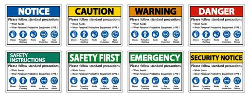 Follow standard hand washing and PPE precautions sign set