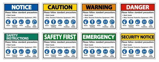 siga a lavagem das mãos padrão e o conjunto de sinais de precauções de ppe vetor