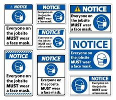 Wear A Face Mask on Jobsite Sign Set vector