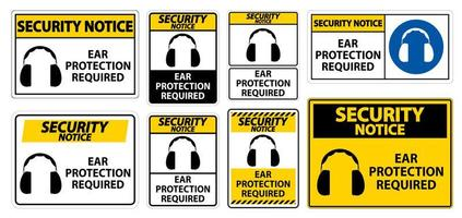 Yellow Ear Protection Required Signs in Different Styles vector