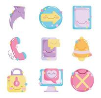 conjunto de ícones de redes sociais kawaii vetor