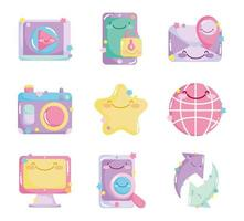 Set of cute social network cute icons vector