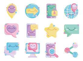 Social network cute icon set vector