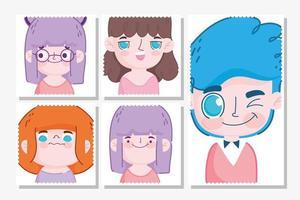 modèle de jeu de timbres kawaii kids