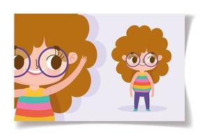Little girl with glasses greeting card template