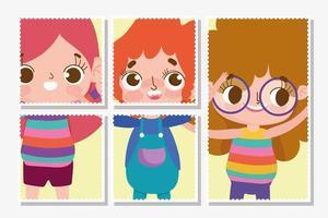 Cute kids stamp set template vector