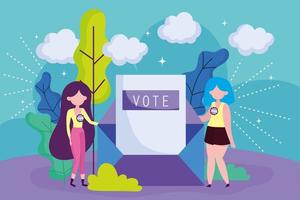 Women voting with envelope vector