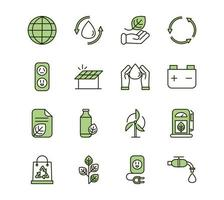 Eco and environmental sustainability green icons set vector