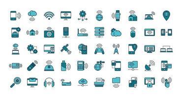 varios dispositivos y conjunto de iconos de arte lineal de internet vector