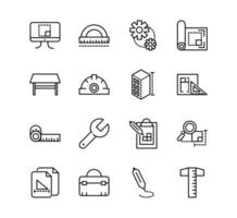 Architecture and construction line icons set vector