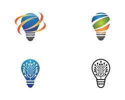 conjunto de iconos de logotipo colorido bombilla vector