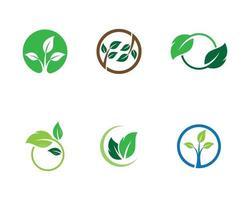 Circular green ecology logo set  vector