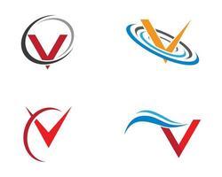 conjunto de logotipo de símbolo de letra '' v '' vector