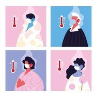 Conjunto de personas con máscara médica que sufren de alta temperatura