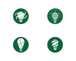 set di icone logo lampadina verde