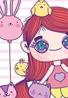 chica anime con animales y una plantilla de tarjeta de globo
