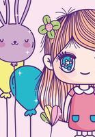 menina de anime recortada com modelo de cartão de balões vetor