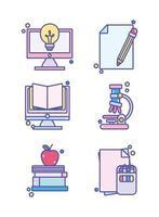 set di icone carino scuola scienza laboratorio