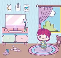 Anime boy with computer in a room vector