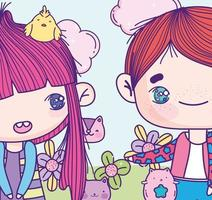 Cropped anime girl and boy with animals and flowers vector