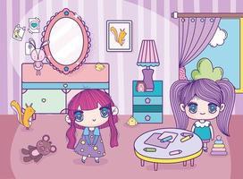 chicas anime en un dormitorio jugando