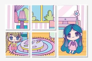 Anime girls playing indoors cards template vector