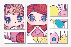 Anime girls with animals and balloons cards template vector