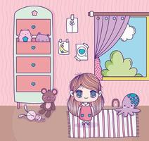 Girl in a cute room with toys vector