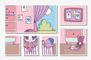 modèle de cartes fille anime dans la chambre