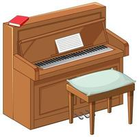 Brown piano in cartoon style on white background