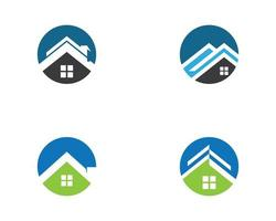 conjunto de logotipo de casa circular