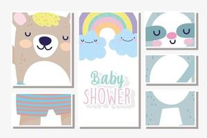 Baby shower various frames card template vector