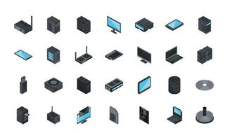 conjunto de iconos de tecnología e internet vector