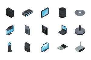 conjunto de iconos de tecnología e internet