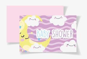 plantilla de tarjeta de baby shower con linda media luna y nubes