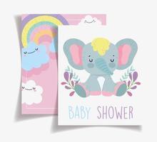 modelo de cartão de chá de bebê elefante fofo